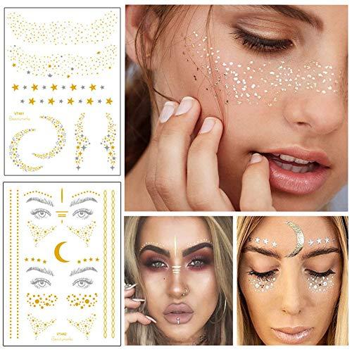 BBIU 4 Stück Face Sticker, Temporäre Stickers Gesicht Aufkleber Face Tattoo für Augen Gesicht Kostüm Party Dekoration Gold (10 Muster*2)