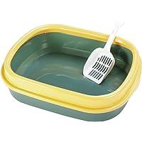 Futurekart Cat Litter Tray with Rim/Semi Closed Style of Cat Litter Basin (Green)