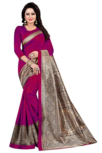 Rensila Fab Women's Mysore Art Silk Saree (Dark Pink)
