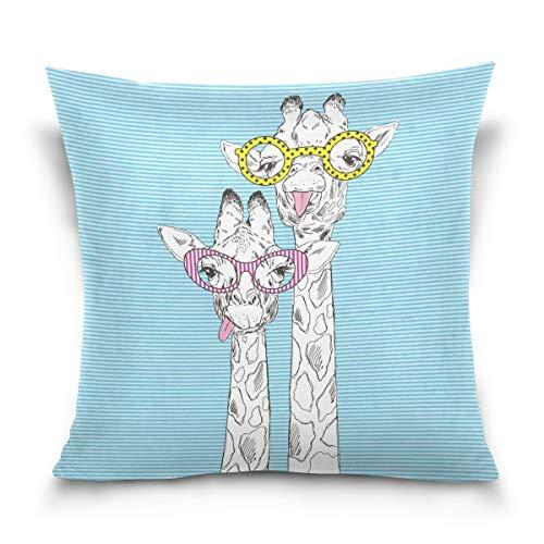 ALAZA Überwurf Kissen Fall dekorative Kissenhülle Kissenbezug, Hipster Giraffe mit Brille Blau gestreift Bettsofa Kissen Schutzhülle Twin Seiten, baumwolle, multi, 20 X 20 inch