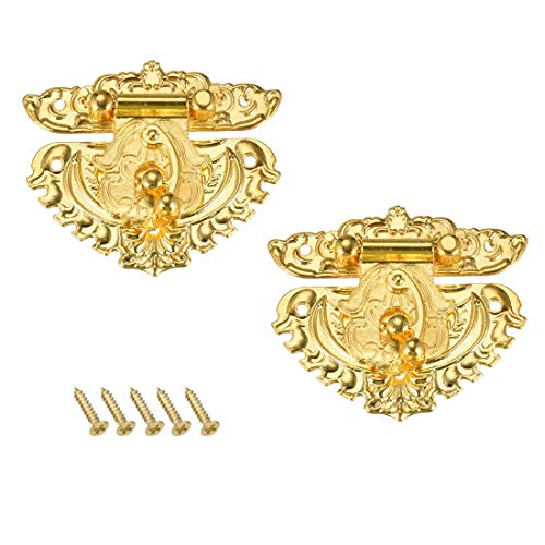 ZCHXD 2 Sets Wood Case Chest Box Rectangle Clasp Closure Hasp Latches Gold Tone 69 x 59mm (Vintage Chest Latch)