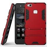 Coque pour Huawei P9 Lite (5,2 Pouces) 2 en 1 Double Couches Étui Antichocs Protection Rigide Anti Choc avec Fonction Support (Rouge)