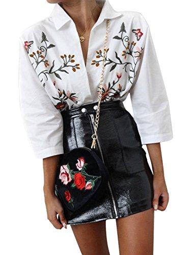 Simplee Apparel Damen Baumwolle Bluse Retro Blumen Stickerei Langarm Bluse 3/4 Arm Basic Blouse Shirts Streetwear Weiß Weiß
