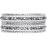 Rafaela Donata Damen-Armband Leather Collection Leder weiß Glaskristall silberfarben Metallbeads silberfarben 60831048