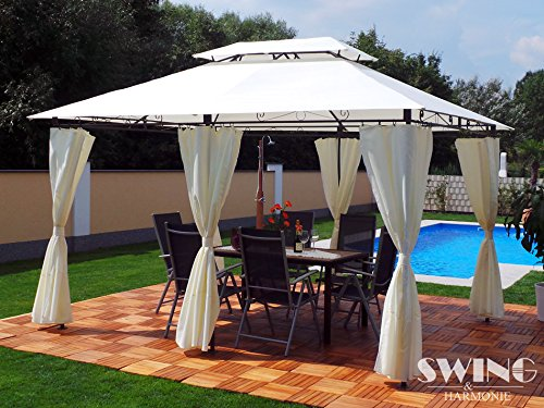 Luxus Pavillon 3x4m Garten Pavilon Gartenmöbel Pavillion Partyzelt Gartenzelt (Creme)