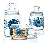 Luminarc Glass Food Storage Jar - 0.5 L, 0.75 L, 1 L,Pack of