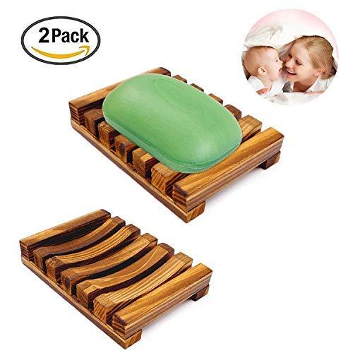 Jabonera de madera, caja de jabón de madera natural, plato de jabón hecho a mano, soporte de jabón para cubierta del lavabo del baño ( 2 paquetes )