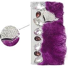 Spritech (TM) Bling Diamantes de imitación elegante cartera de piel sintética diseño de Fox Lujo Suave Beaver Piel de conejo pelo Decor Funda tipo cartera bolsillo para tarjeta de función atril, piel sintética, Color-14, Iphone 6 plus/Iphone 6s plus
