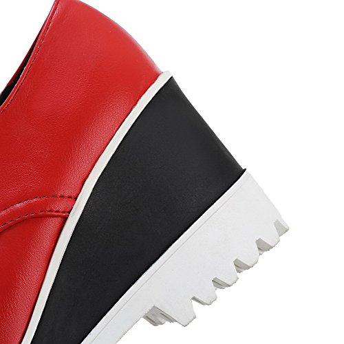 AgooLar Femme Rond à Talon Haut Matière Souple Lacet Chaussures Légeres Rouge
