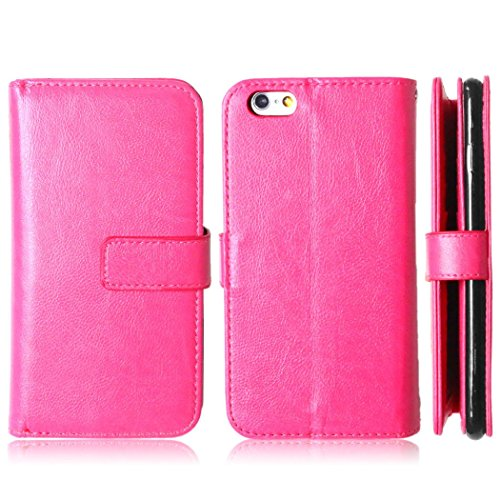 Coque Etui pour Apple iPhone 6 / 6S, iPhone 6 Relief Fleur Coque en Cuir Portefeuille Flip Etui Housse, iPhone 6S PU Cuir Coque Folio Stand Etui Wallet Case Cover, Ukayfe Etui de Protection PU Cuir Po Rose Rouge