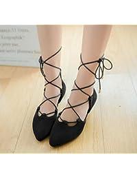 GLTER Mujeres Ankle strap bombas suede punteadas sandalias lado vacío correas zapatos de corte , black , 36