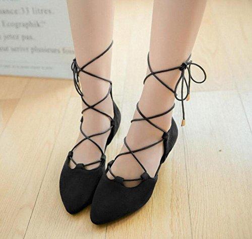 Cinturino Donne Pumps pelle scamosciata sandali aguzzi laterali vuote Scarpe cinghie Corte Black