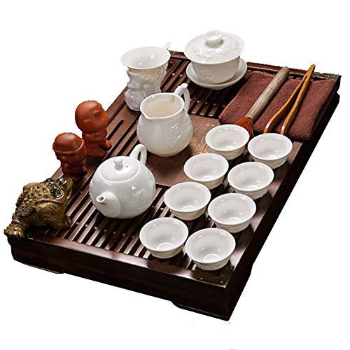 ufengke-ts Chinesisches Kung Fu Keramik Tee Set Mit Hölzernem Tee Tablett, Weinlese Prägen Teeservice, Geschenk Für Tee-Liebhaber und Haushalt, Büro