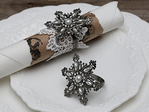 Chic Antique Serviettenring Antik Silber Serviettenhalter Eiskristall m.Perlen