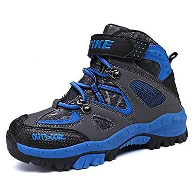 Elaphurus Kids Climbing Boot Hiking Shoes Waterproof Anti-Slip Walking Flat Boots, 1-blue, 11 UK Child