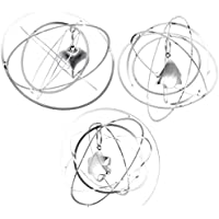 """Gift Company Christbaumschmuck X-Mas Cosmic 3D """"Herz Tannenbaum Stern"""" 3er Set Metall Silber Größe S"""