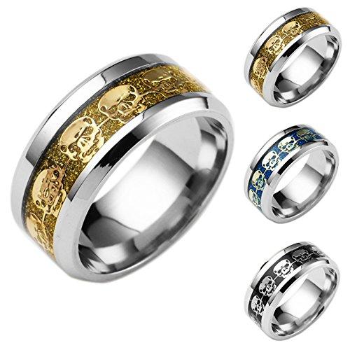 Größe Versprechen Ring 12 Ringe, Herren (Herren Frauen Skull Ring Set Wolfram Celtic Band Ringe Handmade Epoxy Schmuck Versprechen Ring Größe 12)