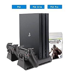 [Verbessert Ausführung] ieGeek Vertikaler Standfuß für PS4 / PS4 Pro / PS4 Slim, 4-in-1 Playstation Standfuß Spielekonsole mit 3 Kühler Lüfter, Dual Controller Ladestation, 12 Game Disc Speicher