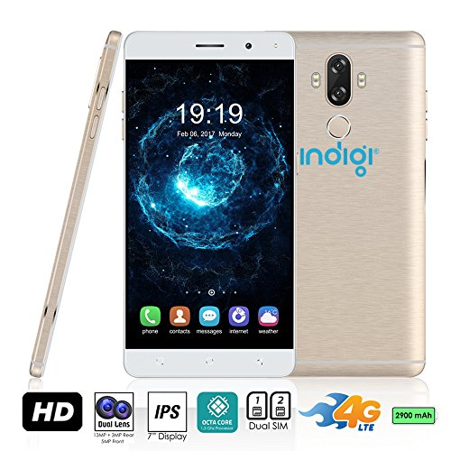 Indigi® GSM entsperrt 4G LTE 6.0in Android 7nougat Smartphone (2SIM + Octa-Core @ 1,3GHz + Fingerabdruck Scanner + Bluetooth 4.0+ Google Play Store) (Gold) Entsperrt Handys Tracfone