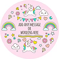 Unicorn Rainbow Magical Sticker Labels (24 Stickers, 4.5cm Each) Personalised Seals Ideal for Party Bags, Sweet Cones, Favours, Jars, Presentations Gift Boxes, Bottles, Crafts