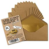 50 Stück I Gold gefütterte Vintage-Umschläge DIN Lang (C6/5) 110 x 220 mm Kraft-Papier braun Recycling Nassklebung I Umwelt by Gustav NEUSER