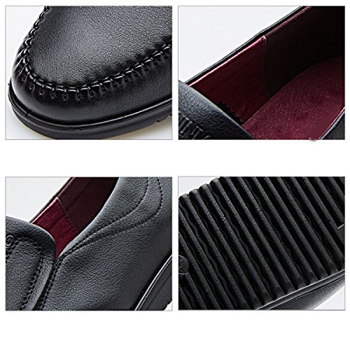 GRRONG Scarpe Traspiranti Comode Scarpe Casual Business Moda Uomini Black