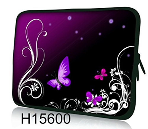 Funky 10,1-10,2 Zoll Tablet Hülle, laptoptasche - zoll Fall Neopren für Notebooks Dell HP Macbook Samsung Apple Toshiba (purple butterflies) (Und Samsung Laptops Von Tablets)