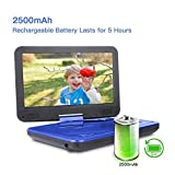 "DBPOWER® 10.5"" Portable DVD Player, 5 Hour Rechargeable Battery, Swivel Screen, Supports SD Card and USB, Direct Play in Formats AVI/RMVB/MP3/JPEG (10.5, Blue)"