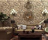 YLCJ Fototapete 9,5M3D Dreidimensionale Retro-Ziegelstein wasserdicht und Peeling Beste Umweltfreundlich Preis Nicht Vlies Tapete Wandbild Super Fresko Für Wohnzimmer Schlafzimmer Wohnkultur Braun