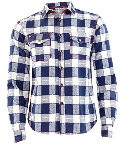 Nuovo da uomo Jacksouth flanella di qualità Lumber Jack Casual 100% cotone da lavoro White & Navy Check L