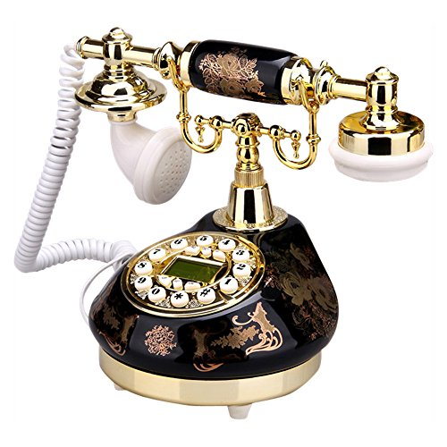 telpal mit Old Fashion Antik Telefon Decor 1960, verkabelt Home Office Telefon Decor System, Keramik antik Stil (schwarz) -