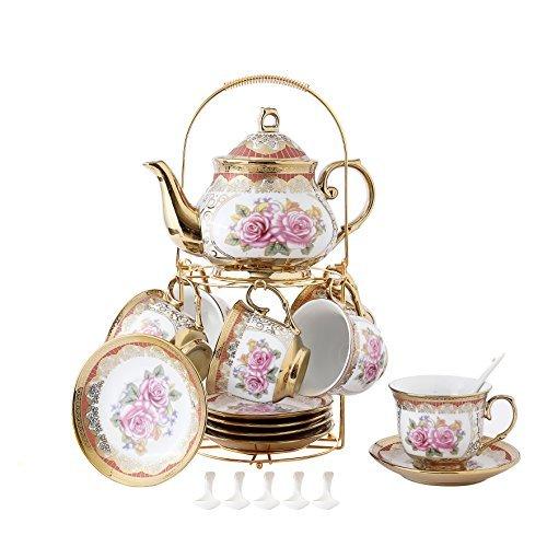 13 Stück Europäischen Titan Gold Tee Set Mit Metall Ständer, Rose Druck Vintage Keramik Teeservice Service Kaffee Set, Für Geschenk Und Haushalt