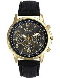 Kinlene Unisex casual faux de Ginebra Relojes de cuarzo reloj de muñeca de cuero analogico de Gancho Relojes (Black)