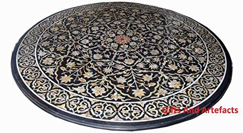 Inlay-top-couchtisch (121,9cm schwarz rund Marmor Luxus Couchtisch Top Einlegearbeiten Art Inlay Floral Design)
