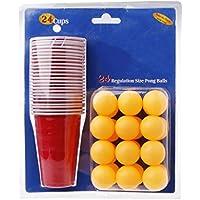 Set De Beer Pong Americano 100 Vasos Rojos Y 15 Bolas De Pimpon