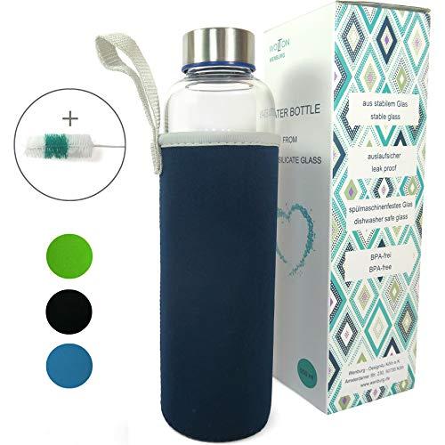 Wenburg Trinkflasche/Glasflasche mit Edelstahl Deckel Wolton 550 MLL / 750 ml Neopren Hülle. Sportflasche/Wasserflasche aus Glas. Für Unterwegs (dunkelblau, 0,55 l)