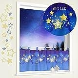 Scheibengardine mit LED Sternenhimmel 45 x 120 cm mit Schlaufen Kindergardine Bistrogardine Sterne beleuchtet Weihnachten Deko ÖKOTEX Gardine Typ496