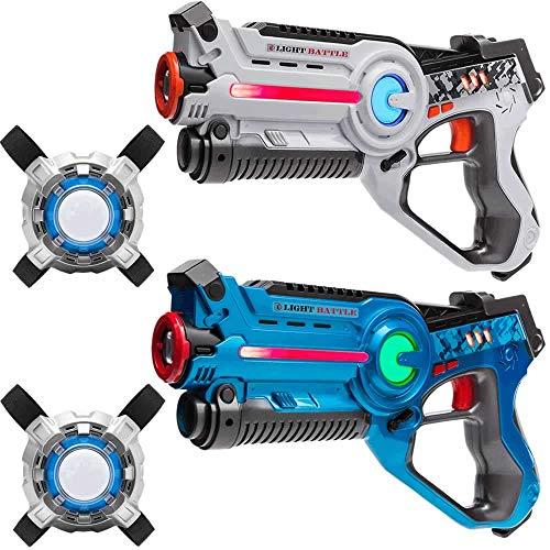 Light Battle Infrarouge Pistolets. Laser Game Pistolets: 1x Bleu, 1x Blanc + 2 Laser Game Plastrons   LBAPV22234