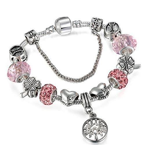 Armband Armreif,Schmuck Geschenk, New Vintage Charm Bracelet Couple & Key Beads Silver Color Snake Chain Pan'do'ra Bracelet Women DIY Jewelry Dropshipping A6 21cm