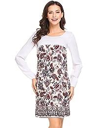 3a29bd24b004c4 Modfine Damen Langarm Kleid Lose Freizeitkleid Baumwolle Spitze Patchwork  Casual Print Kleid