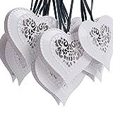 Set di 12 lanterne a energia solare luci led cuore bianco per esterni, giardino, albero di Natale, feste, matrimoni, palle)