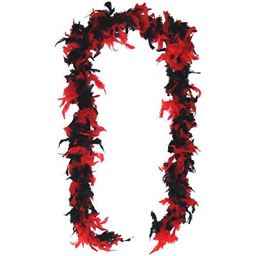 Rot / Schwarze Federboa 200cm mit echten Federn Boa für Charleston Kostüme 20er Jahre (Roten Und Schwarzen Feder-boa)