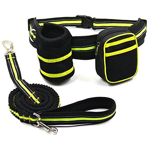 Easylifer Einstellbare Hundegeschirr Leine Hands Free Pet Blei-Leine-Gürtel zum Joggen, Wandern, Rad fahren, Wandern usw. mit Wasserflaschenhalter und Tasche Leine (Green)