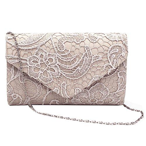 Elegant Taschen mit Umschlag Gosear Handtasche Abend Kupplung Schultertaschen Einzelne Blütenspitze Damen Mode Party Goldene Mädchen Hand Taschen Kettenträger Frauen Prom wwIzBf