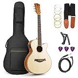 vangoa 91,4cm Akustische E-Gitarre mit Cutaway mit Gitarre, Gigbag, Gurt, Stimmgerät, Saiten, Plektren, Kapodaster