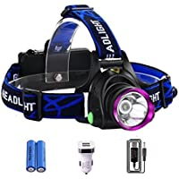 WOLFTEETH Lampade da testa LED Torcia ricaricabile frontale luce lanterna 3 illuminazione Modalità batterie incluso per campeggio ,escursioni,correre, camminare, corsa e altri sport all'aria aperta
