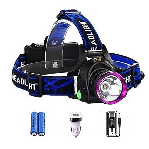 WOLFTEETH 4009EU CREE XM-L T6 LED Puissante Lampe frontale 3 Modes d'éclairage + 2 x 18650 Batteries rechargeables + Chargeur de voiture