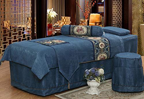 Massage Couch Cover Lit De Beauté Couvre-Lit Professionnel Housse De Couette Et Taie d'oreiller Massage en Quatre Parties,Blue,Squarehead190*80