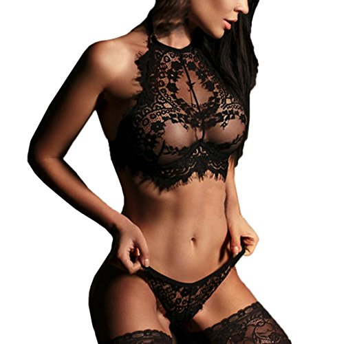 Damen Dessous,Binggong Mode Frauen Sexy Dessous Spitze Blumen Push-Up Top Bh Nachtwäsche Erotik Unterwäsche Transparente Reizwäsche Dessous-Sets (Sexy Schwarz, L) (Neckholder-bh Kurze)