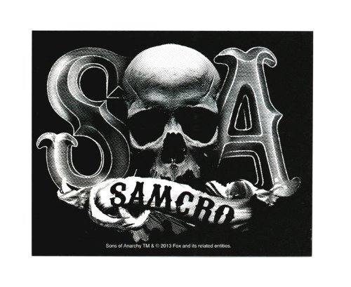 Sons Of Anarchy Samcro Skull B/W Autocollant